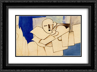 Study for 'Le Pierrot' 24x18 Black or Gold Ornate Framed and Double Matted Art Print by Roger de La Fresnaye