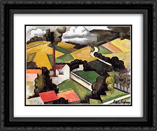The Factory Chimney, Meulan Landscape 24x20 Black or Gold Ornate Framed and Double Matted Art Print by Roger de La Fresnaye