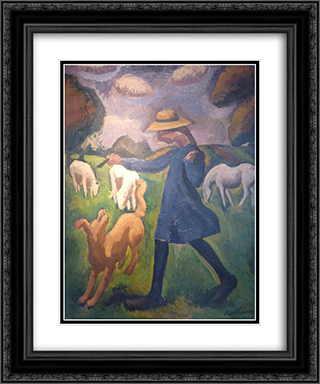 The shepherdess. Spring Marie Child 20x24 Black or Gold Ornate Framed and Double Matted Art Print by Roger de La Fresnaye