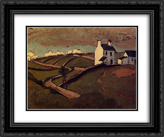 White House at Audierne 24x20 Black or Gold Ornate Framed and Double Matted Art Print by Roger de La Fresnaye