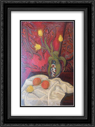 Yellow tulips 18x24 Black or Gold Ornate Framed and Double Matted Art Print by Roger de La Fresnaye
