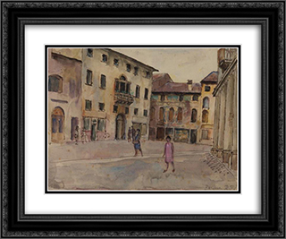 Bassano 24x20 Black or Gold Ornate Framed and Double Matted Art Print by Roger Fry