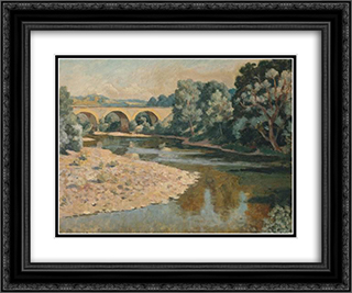 Bridge over the Allier 24x20 Black or Gold Ornate Framed and Double Matted Art Print by Roger Fry