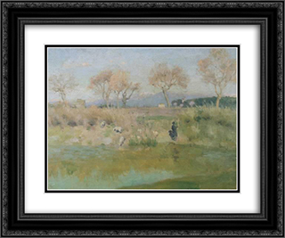 Landscape with Shepherd, near Villa Madama, Rome 24x20 Black or Gold Ornate Framed and Double Matted Art Print by Roger Fry