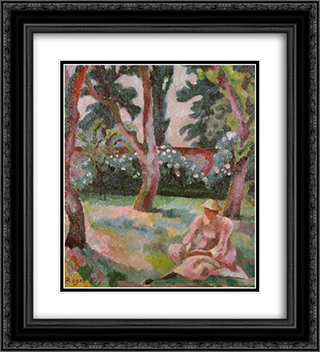 Orchard, Woman Seated in a Garden 20x22 Black or Gold Ornate Framed and Double Matted Art Print by Roger Fry