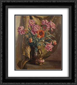 Peonies and Poppies 20x22 Black or Gold Ornate Framed and Double Matted Art Print by Roger Fry