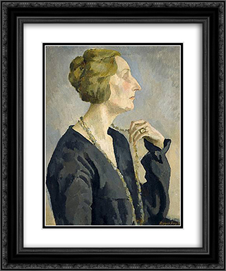 Portrait of Edith Sitwell 20x24 Black or Gold Ornate Framed and Double Matted Art Print by Roger Fry