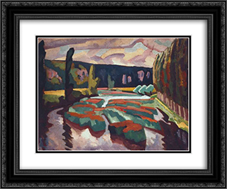 River with Poplars 24x20 Black or Gold Ornate Framed and Double Matted Art Print by Roger Fry