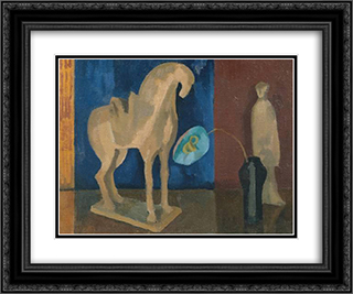 Still Life with T'ang Horse 24x20 Black or Gold Ornate Framed and Double Matted Art Print by Roger Fry
