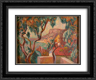 View on the Cote d'Azur, Menton 24x20 Black or Gold Ornate Framed and Double Matted Art Print by Roger Fry