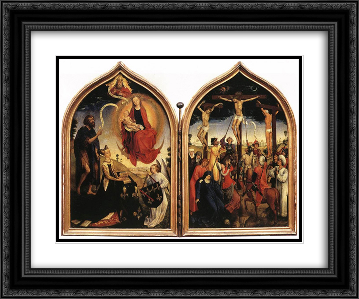 Diptych of Jeanne of France 24x20 Black or Gold Ornate Framed and Double Matted Art Print by Rogier van der Weyden