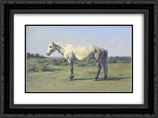 A Grey Horse in a Field 24x18 Black Ornate Framed and Double Matted Art Print by Rosa Bonheur