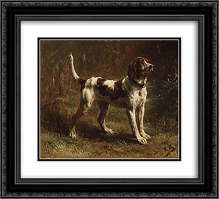 A Limier Briquet Hound 22x20 Black Ornate Framed and Double Matted Art Print by Rosa Bonheur