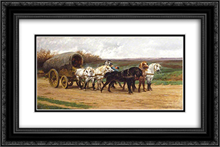 A Waggon and a Team of Horses 24x16 Black Ornate Framed and Double Matted Art Print by Rosa Bonheur