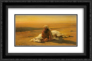 Arab and a Dead Horse 24x16 Black or Gold Ornate Framed and Double Matted Art Print by Rosa Bonheur