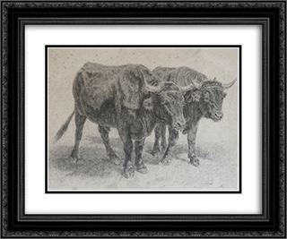 Boeufs du Cantal 24x20 Black or Gold Ornate Framed and Double Matted Art Print by Rosa Bonheur