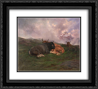 Cattle at Rest on a Hillside in the Alps 1885 22x20 Black or Gold Ornate Framed and Double Matted Art Print by Rosa Bonheur