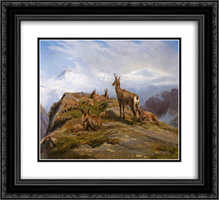 Chamois 22x20 Black or Gold Ornate Framed and Double Matted Art Print by Rosa Bonheur