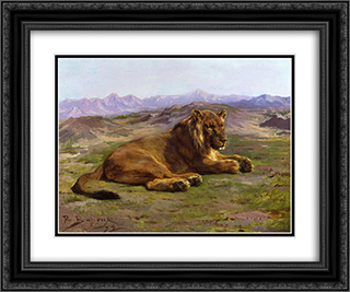 Couching Lion 24x20 Black or Gold Ornate Framed and Double Matted Art Print by Rosa Bonheur