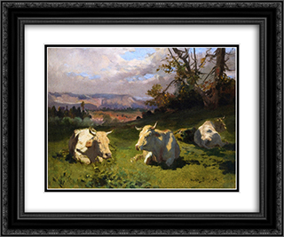 Cows Resting 24x20 Black or Gold Ornate Framed and Double Matted Art Print by Rosa Bonheur