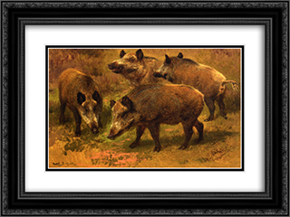 Four Boars in a Landscape 24x18 Black Ornate Framed and Double Matted Art Print by Rosa Bonheur