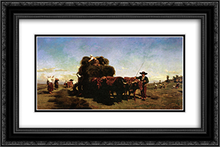 Haymaking in the Auvergne 24x16 Black or Gold Ornate Framed and Double Matted Art Print by Rosa Bonheur