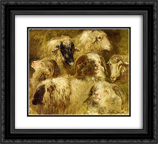 Heads of Ewes and Rams 22x20 Black or Gold Ornate Framed and Double Matted Art Print by Rosa Bonheur