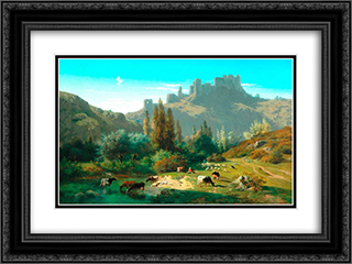Landscape with Cattle 24x18 Black or Gold Ornate Framed and Double Matted Art Print by Rosa Bonheur