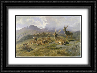 Landscape with Deer 24x18 Black or Gold Ornate Framed and Double Matted Art Print by Rosa Bonheur