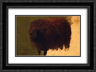 Large Wooly Sheep (also known as Wether) 24x18 Black or Gold Ornate Framed and Double Matted Art Print by Rosa Bonheur