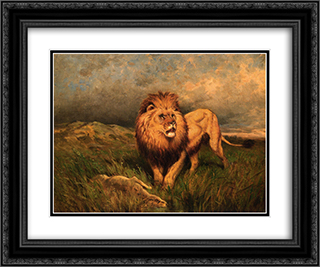 Lion and Prey (also known as The Kill) 24x20 Black or Gold Ornate Framed and Double Matted Art Print by Rosa Bonheur