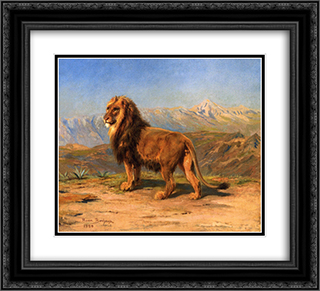 Lion in a Mountainous Landscape 22x20 Black or Gold Ornate Framed and Double Matted Art Print by Rosa Bonheur