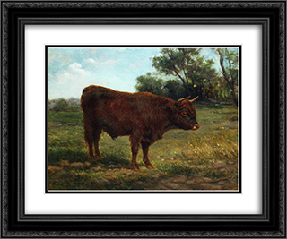 Longhorn Bull in a Landscape 24x20 Black or Gold Ornate Framed and Double Matted Art Print by Rosa Bonheur