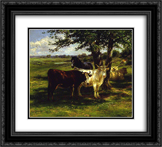 Noonday Rest 22x20 Black or Gold Ornate Framed and Double Matted Art Print by Rosa Bonheur