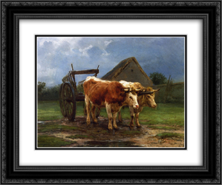 Oxen Pulling a Cart 24x20 Black or Gold Ornate Framed and Double Matted Art Print by Rosa Bonheur