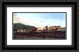 Ploughing in the Nivernais, France 24x16 Black or Gold Ornate Framed and Double Matted Art Print by Rosa Bonheur