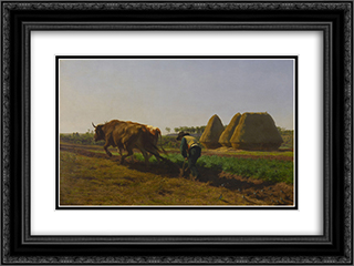 Ploughing Scene 24x18 Black or Gold Ornate Framed and Double Matted Art Print by Rosa Bonheur