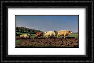Plowing in the Nivernais 24x16 Black or Gold Ornate Framed and Double Matted Art Print by Rosa Bonheur