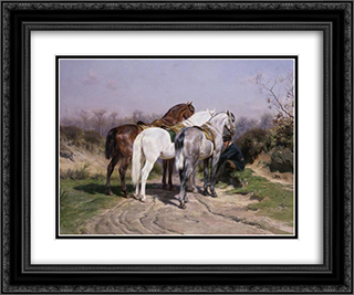 Relay Hunting 24x20 Black Ornate Framed and Double Matted Art Print by Rosa Bonheur