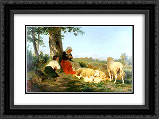 Repose 24x18 Black or Gold Ornate Framed and Double Matted Art Print by Rosa Bonheur