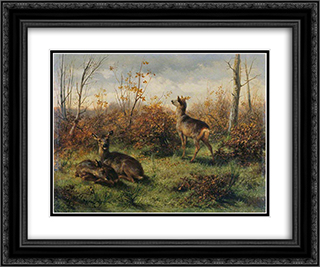 Roe Deer 24x20 Black or Gold Ornate Framed and Double Matted Art Print by Rosa Bonheur