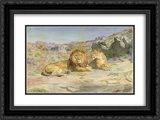 Royalty at Home 24x18 Black or Gold Ornate Framed and Double Matted Art Print by Rosa Bonheur