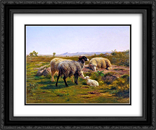 Sheep and a Lamb 24x20 Black or Gold Ornate Framed and Double Matted Art Print by Rosa Bonheur