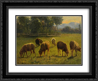 Sheep in a Landscape 24x20 Black or Gold Ornate Framed and Double Matted Art Print by Rosa Bonheur