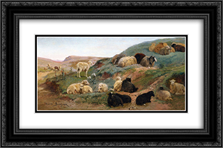 Sheep in a Mountainous Landscape 24x16 Black or Gold Ornate Framed and Double Matted Art Print by Rosa Bonheur