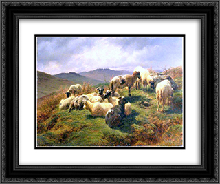 Sheep in the Highlands 24x20 Black or Gold Ornate Framed and Double Matted Art Print by Rosa Bonheur