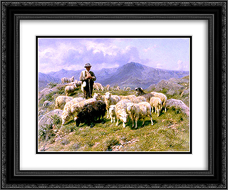 Shepherd of the Pyrenees 24x20 Black or Gold Ornate Framed and Double Matted Art Print by Rosa Bonheur