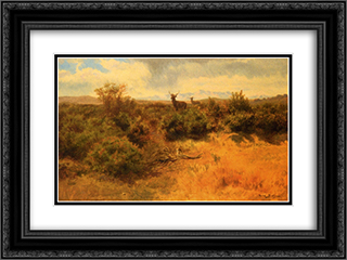 Stag and Doe in a Landscape 24x18 Black or Gold Ornate Framed and Double Matted Art Print by Rosa Bonheur