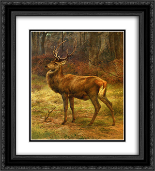 Stag in an Autumn Landscape 20x22 Black or Gold Ornate Framed and Double Matted Art Print by Rosa Bonheur