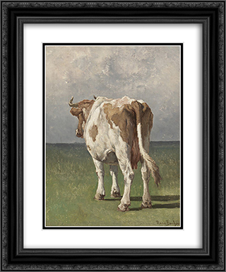 Study of a Cow 20x24 Black or Gold Ornate Framed and Double Matted Art Print by Rosa Bonheur